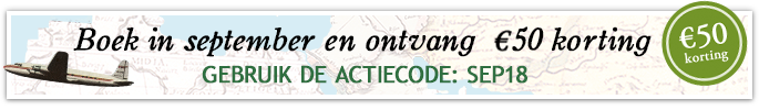 Boek in september en ontvang €50 korting. Gebruik de actiecode SEP18.