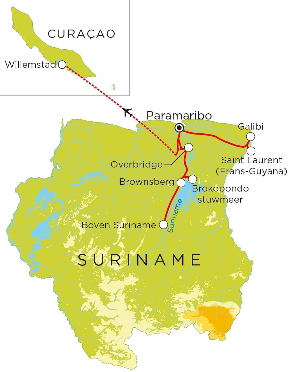 Routekaart Suriname & Curaçao, 23 dagen