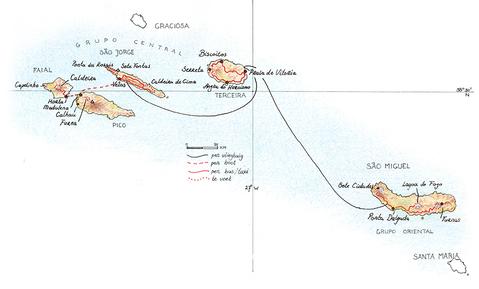 Routekaart Wandelvakantie Azoren, 14 dagen