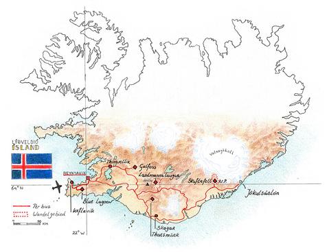 Routekaart Wandelvakantie IJsland, 11 dagen