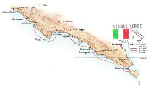 Routekaart Wandelvakantie Cinque Terre - Italië, 8 dagen