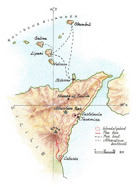 Routekaart Wandelreis Sicilië, 8 dagen