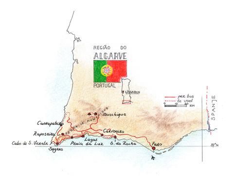 Routekaart Wandelvakantie Algarve - Portugal, 8 dagen
