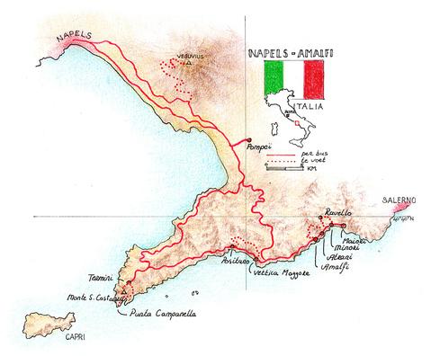 Routekaart Wandelvakantie Amalfikust - Italië, 8 dagen