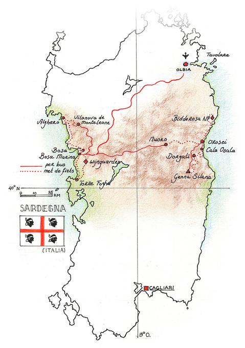 Routekaart Fietsvakantie Sardinië Italië, 8 dagen