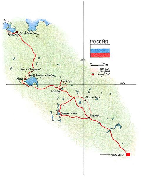 Routekaart Fietsvakantie Rusland, 9 dagen
