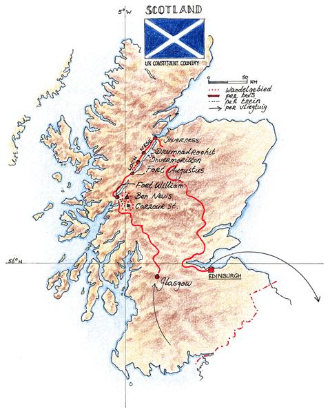 Routekaart Wandelvakantie Schotland, 8 dagen