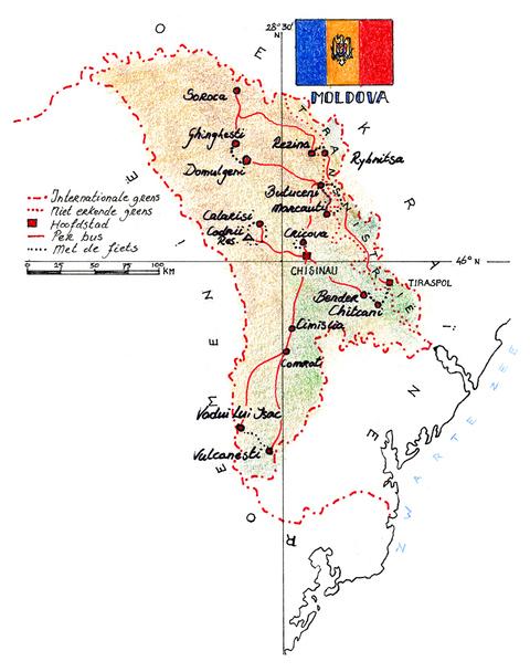Routekaart Fietsvakantie Moldavië en Transnistrië, 8 dagen