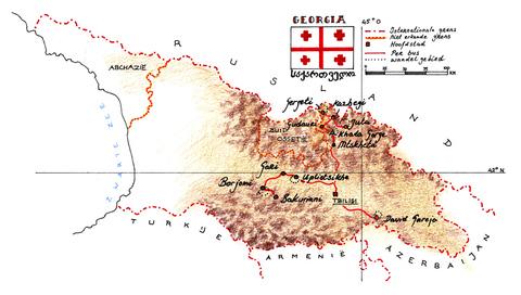 Routekaart Wandelreis Georgië, 10 dagen