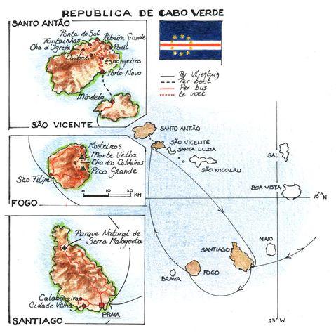 Routekaart Wandelreis Kaapverdische eilanden, 13 dagen