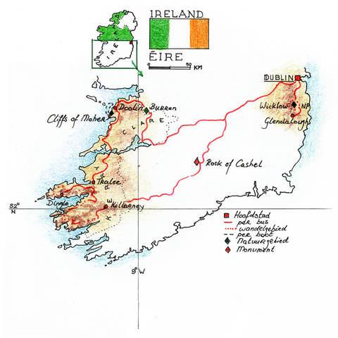 Routekaart Wandelreis Ierland 8 dagen