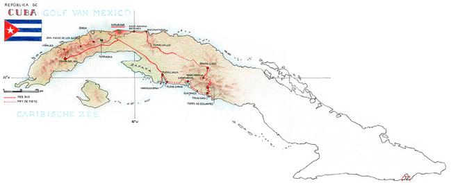 Routekaart Fietsvakantie Cuba, 18 dagen