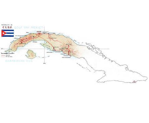 Routekaart Fietsreis Cuba, 18 dagen
