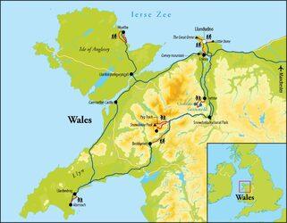 Routekaart Wandelreis Wales, 8 dagen