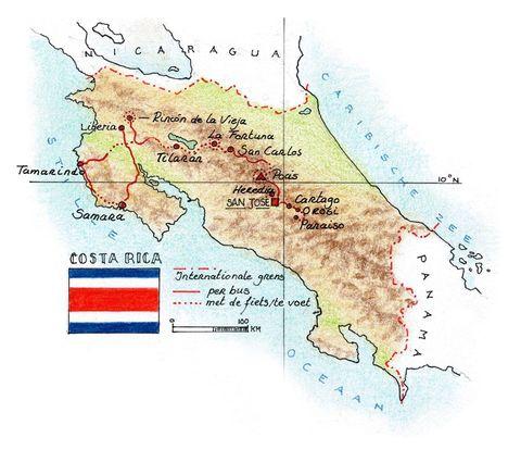 Routekaart Wandel- en Fietsreis Costa Rica, 14 dagen