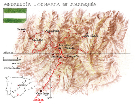 Routekaart Wandelvakantie Andalusië - Spanje, 8 dagen