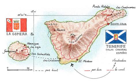 Routekaart Wandelvakantie Tenerife & La Gomera, 8 dagen
