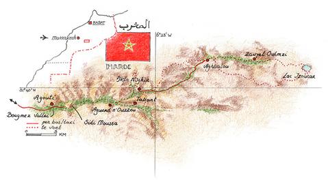 Routekaart Wandelvakantie Marokko, 8 dgn