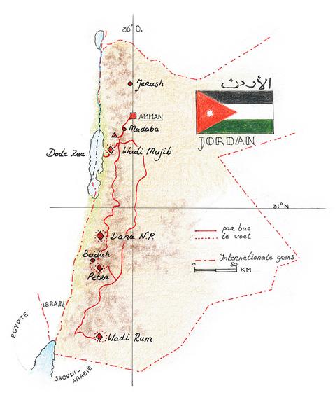 Routekaart Wandelvakantie Jordanië, 9 dagen