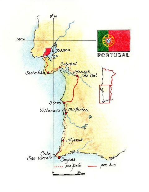 Routekaart Fietsreis Portugal, 8 dagen