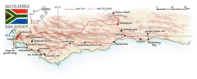 Routekaart Fietsvakantie Zuid-Afrika, 15 dagen