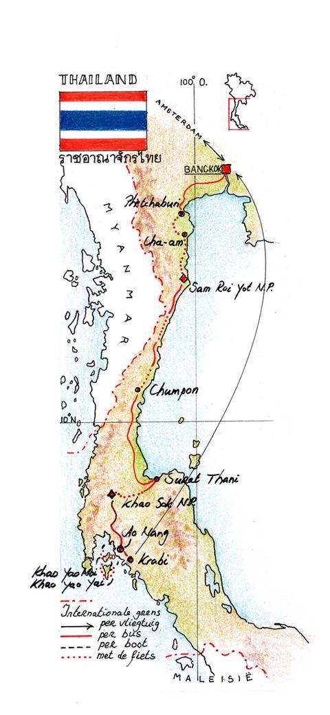 Routekaart Fietsreis Thailand, 15 dagen