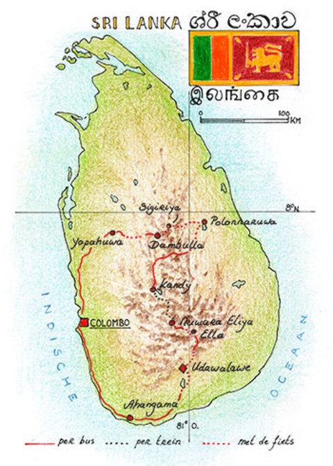 Routekaart Fietsvakantie Sri Lanka, 15 dagen