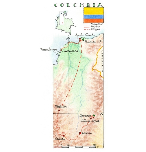 Routekaart Wandel- en fietsreis Colombia, 14 dagen