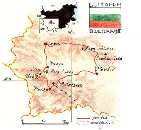 Routekaart Wandelreis Bulgarije