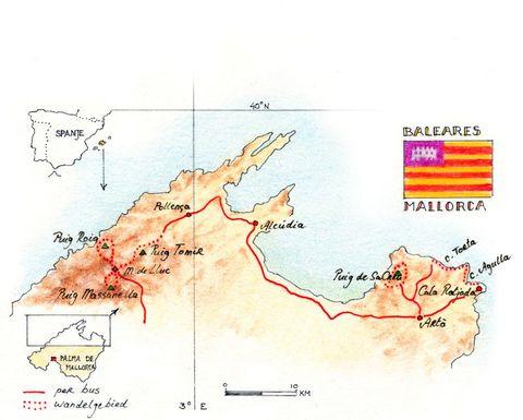 Routekaart Wandelreis Mallorca, 8 dagen