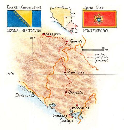 Routekaart Fietsreis Balkan, 8 dagen