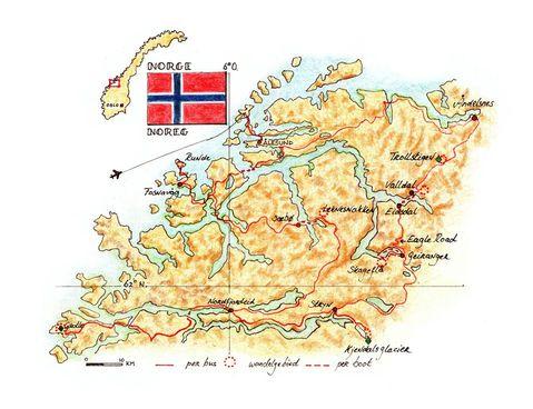 Routekaart Wandelreis Noorwegen, 8 dagen