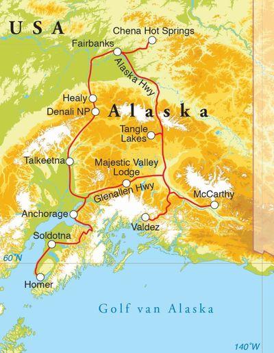 Routekaart Rondreis Alaska, 21 dagen hotel/cabinreis