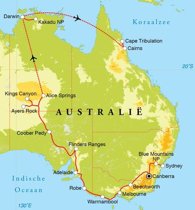 Routekaart Rondreis Australië, 28 dagen
