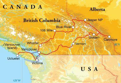 Routekaart Rondreis Canada, 22 dagen hotelreis