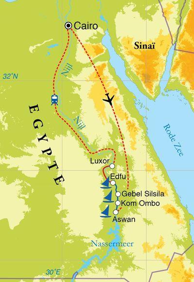 Routekaart Rondreis Egypte, Nijlvallei en zeiltocht, 11 dagen