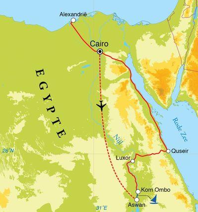 Routekaart Rondreis Egypte, woestijnen, Nijlvallei en Rode Zee, 20 dagen