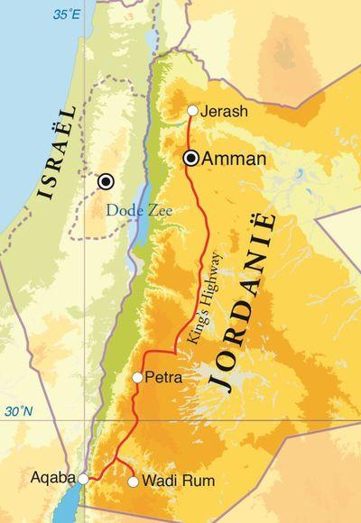 Routekaart Rondreis Jordanië, 8 dagen