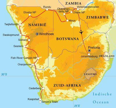 Routekaart Rondreis Zuid-Afrika, Botswana, Namibië & Victoriawatervallen, 24 dagen kampeerreis