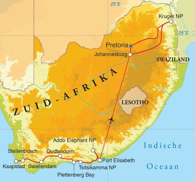 Routekaart Rondreis Zuid-Afrika, 15 dagen