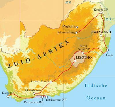 Routekaart Rondreis Zuid-Afrika, Lesotho & Swaziland, 21 dagen hotel/chaletreis
