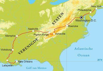 Routekaart Rondreis Van New Orleans naar New York, 18 dagen