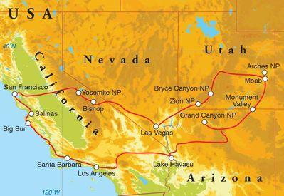 Routekaart Rondreis West-Amerika, 22 dagen hotel/kampeerreis