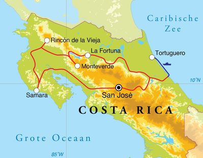 Routekaart Rondreis Costa Rica, 14 dagen