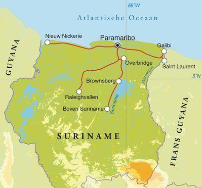 Routekaart Rondreis Suriname, 20 dagen