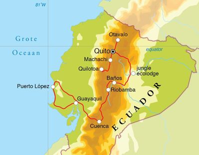 Routekaart Rondreis Ecuador, 21 dagen