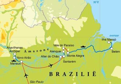 Routekaart Rondreis Brazilië Amazone, 19 dagen