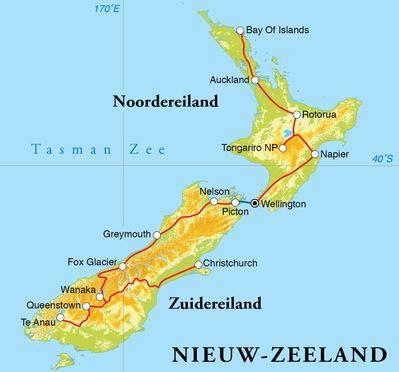 Routekaart Rondreis Nieuw-Zeeland, 25 dagen