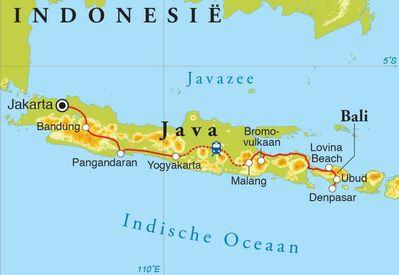 Routekaart Rondreis Java & Bali, 18 dagen