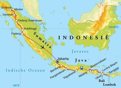 Routekaart Rondreis Sumatra, Java, Bali & Lombok, 28 dagen